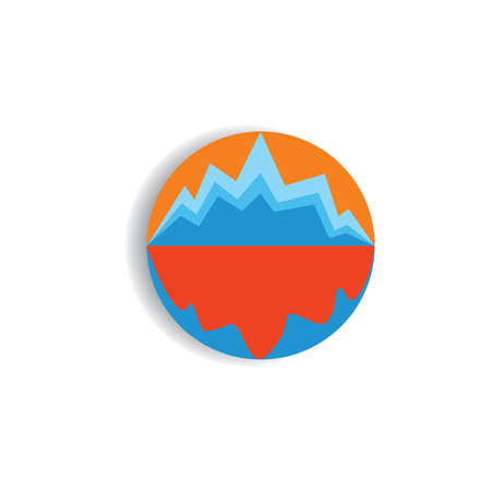 sun mountain shadow in the sea outdoor logo vector Stock Illustratie