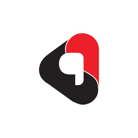 letter q curves 3d design logo vector