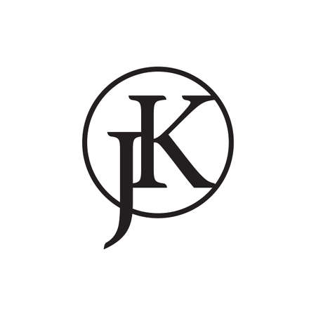 letter jk circle linked logo vector