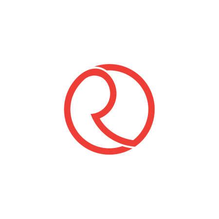 letter r circle overlapping design symbol logo vector