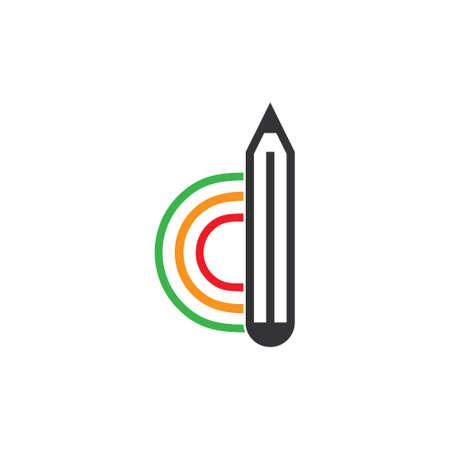 letter d colorful pencil creative symbol vector Çizim
