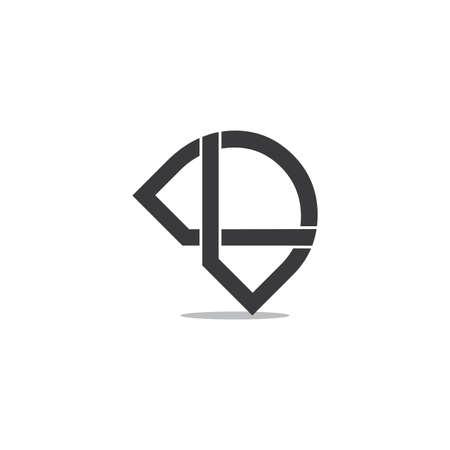 letter dk linked overlapping line shadow logo vector