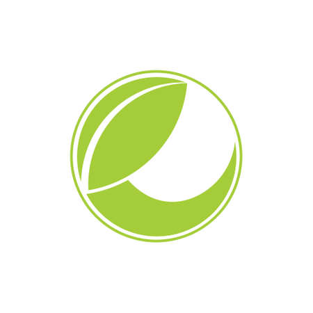 letter e geometric leaf circle logo vector Çizim