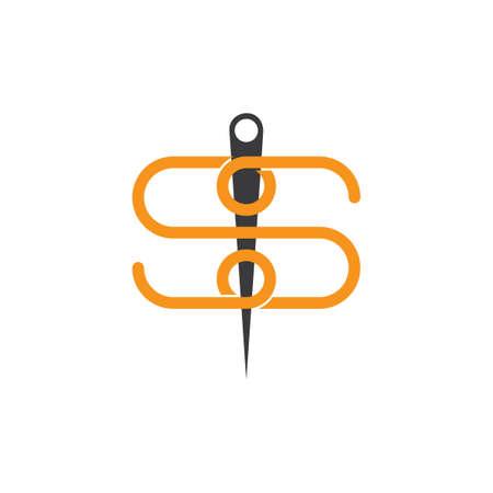 letter s thread needle symbol logo vector Çizim