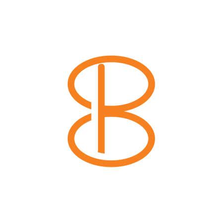 letter b loop line linked logo vector Çizim