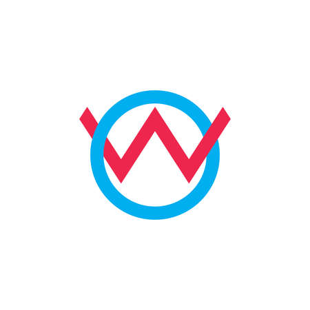 letter ow linked overlapping line logo vector Çizim