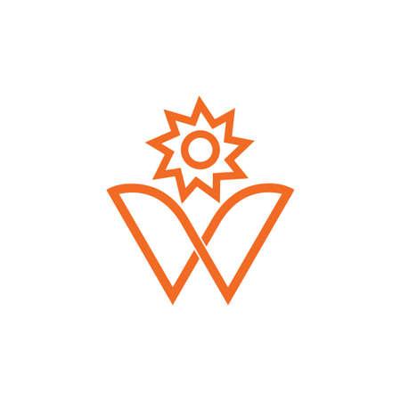 sun flower letter w logo vector
