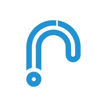 letter r rain water stripes line logo vector