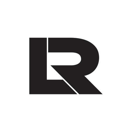 letters lr simple linked geometric square logo