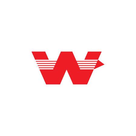 letter w stripes geometric fast arrow logo vector