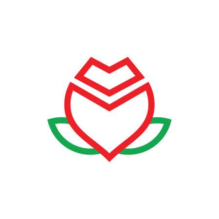 flower lines art geometric logo vector