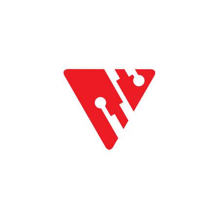 letter v triangle linked dots logo vector Çizim
