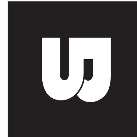 abstract letter uj simple geometric logo vector
