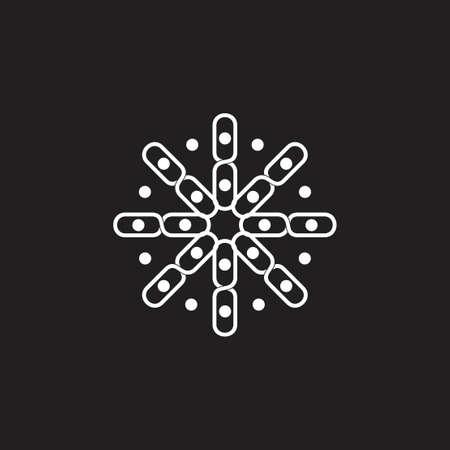 linked chain in circle dots swirl logo vector Çizim
