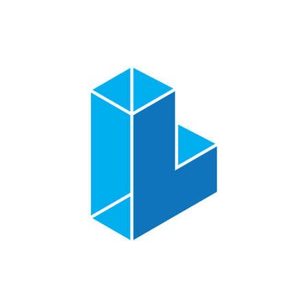 letter l 3d geometric logo vector