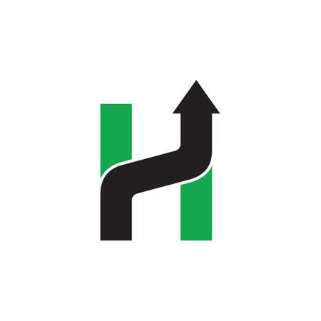 letter h geometric arrow up logo vector