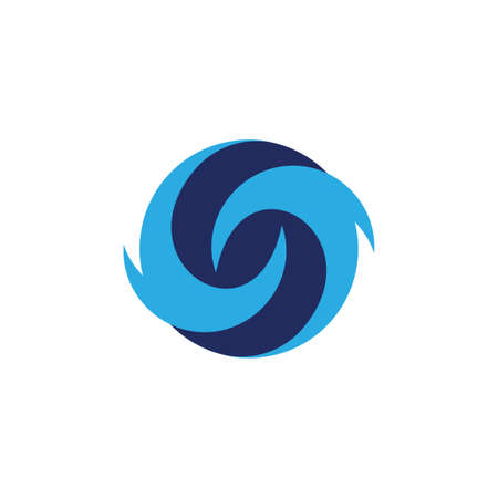 curves circles blue waves rotation simple logo vector Ilustracja