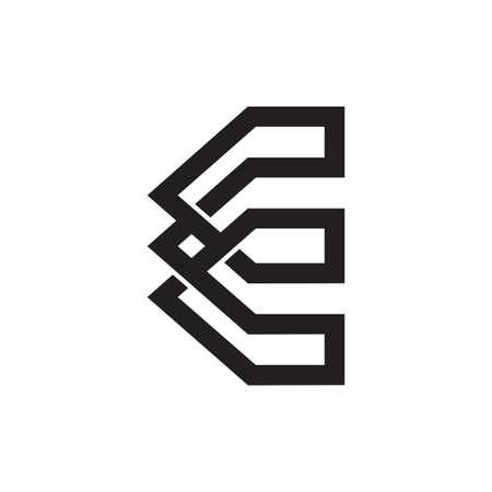 letter e infinity line geometric logo vector Çizim