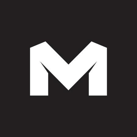 letter mv simple geometric logo vector