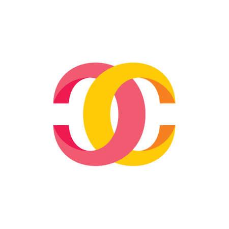 letter cc 3d linked logo vector