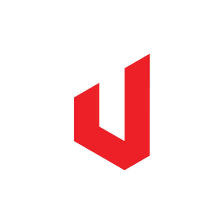 simple geometric letter j red logo vector