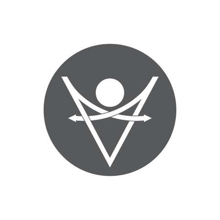 letter v thin line geometric arrow logo vector