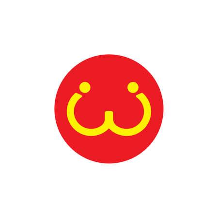 letter w human cute happy logo vector