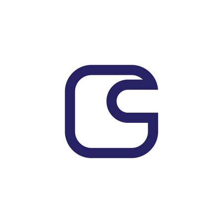 letter c simple geometric line square logo vector Çizim