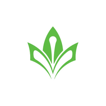 simple geometric book green leaf plant education logo