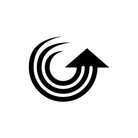 stripes rotation motion arrow up logo vector