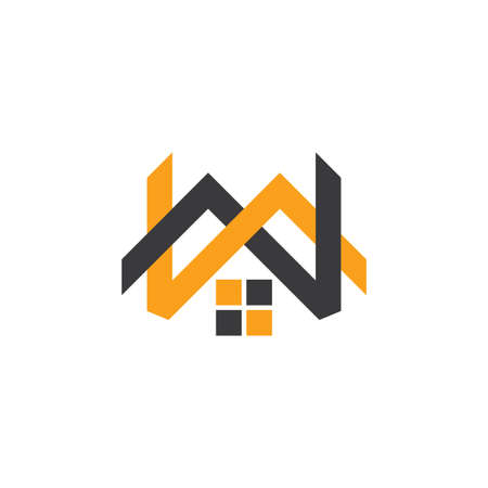 letter mw linked home shape logo vector