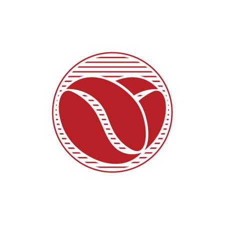 love shape coffee bean vintage stripes symbol logo vector
