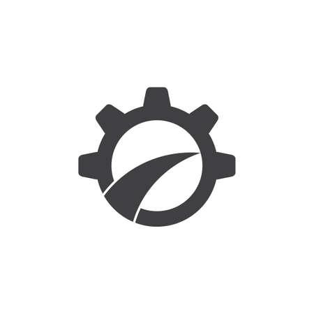 cog wheel street path design logo Ilustração