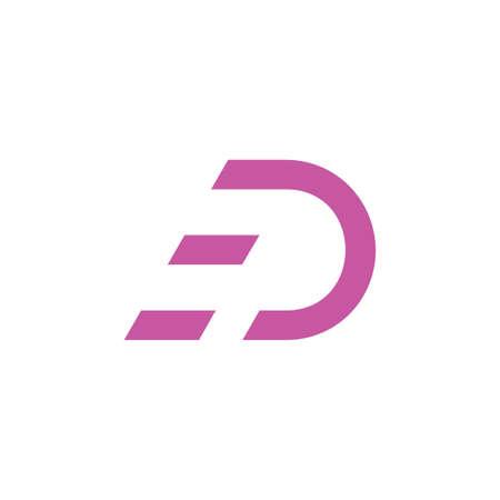 letter d run movement logo vector