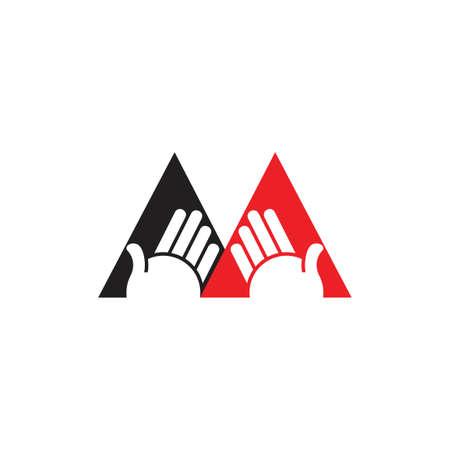 letter m hand greeting gesture logo vector Illusztráció