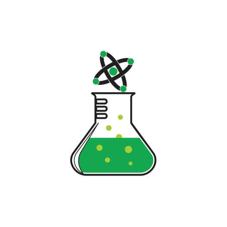 molecule chemical glass symbol logo vector Illustration