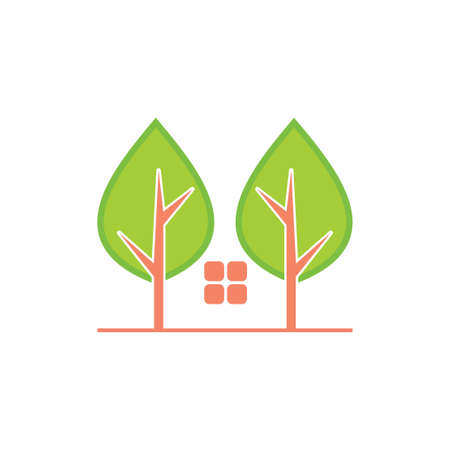 trees home simple abstract logo vector Ilustração