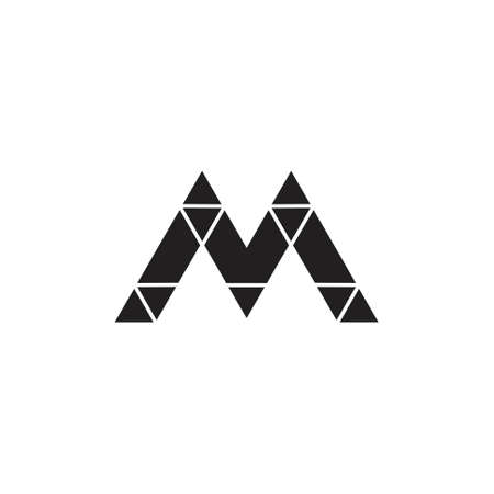 linked letter m triangle colorful mosaic logo vector