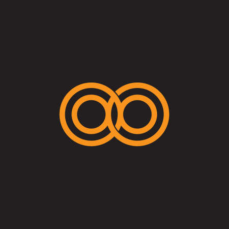 linked loop flat lines art logo vector