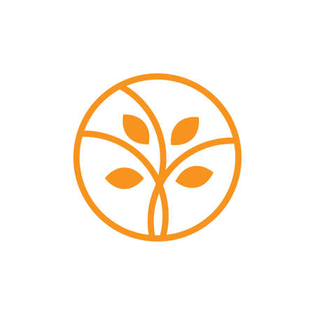 circle geometric leaf plant branch logo vector