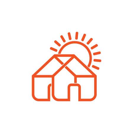 house sun rise lines art symbol logo vector 일러스트