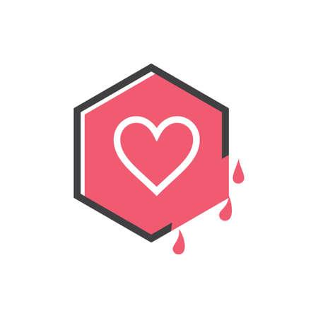 love sweet juice hexagonal vector