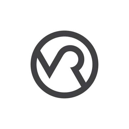 letter mr circle geometric logo vector Logó