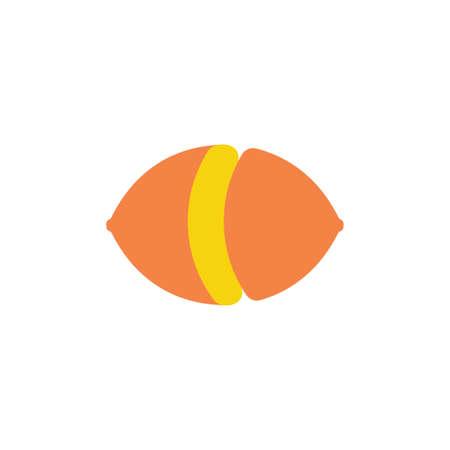 lemon cut simple geometric design symbol vector