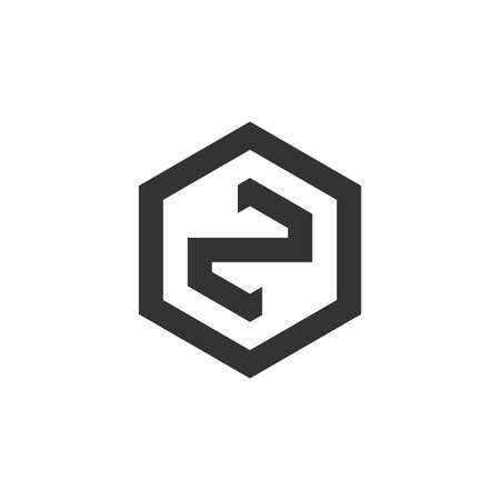 letter zn hexagonal geometric line logo vector