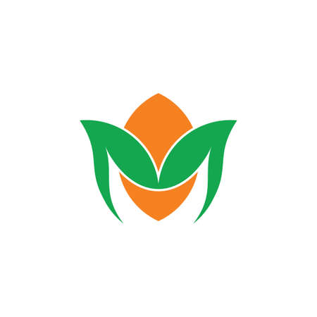 letter m simple curves lemon leaf logo vector Ilustração