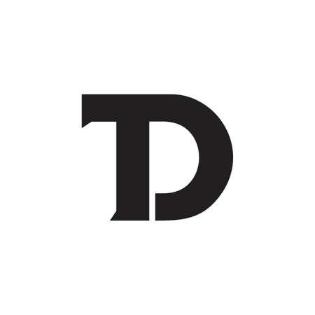 letter td linked geometric simple logo vector Logo