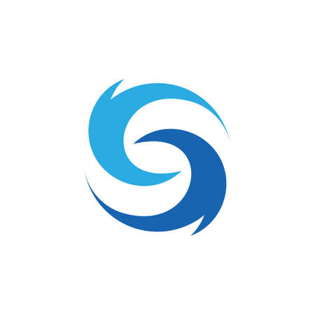 letter s curves circles blue waves rotation simple logo vector Ilustracja
