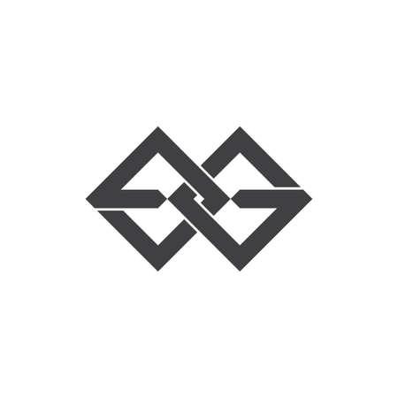 letter eg linked square geometric logo vector