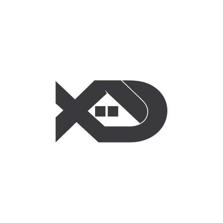 letter xd home shape logo vector Logó